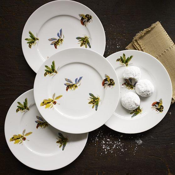 Flora Fauna Dessert Plates Bees Modern Salad And