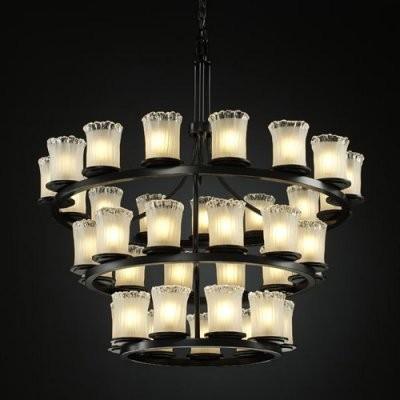 Justice Design Group Veneto Luce GLA-8713-16-WTFR-MBLK Dakota 36-Light 3-Tier Ri modern-chandeliers