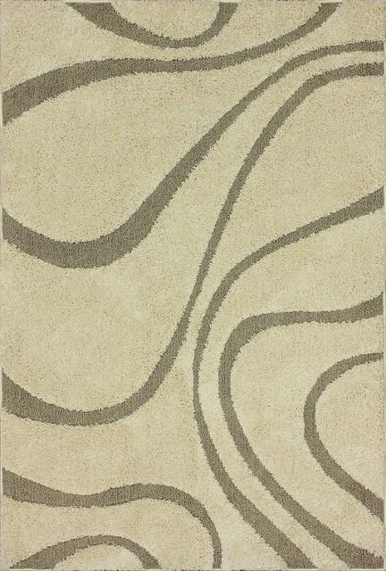 Shag Shag 8'x10' Rectangle Cream Area Rug modern-rugs