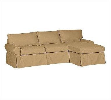 Pb basic left 2 piece with chaise sectional slipcover for Chaise couch slipcover