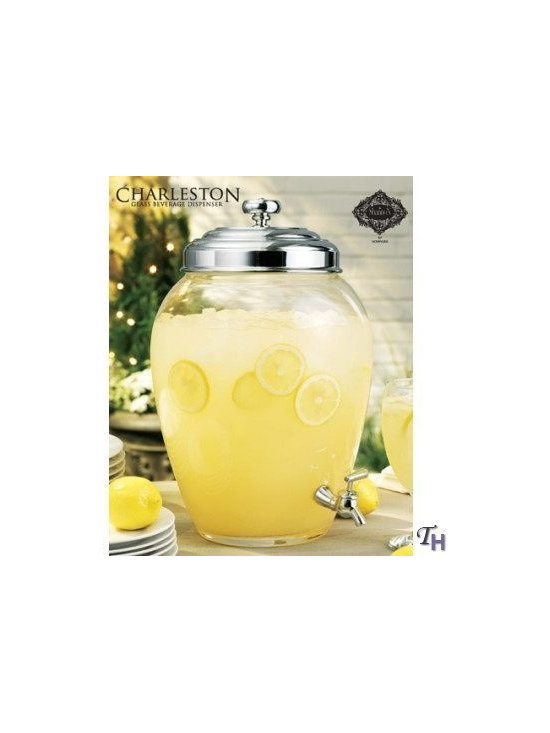 Charleston Glass Beverage Dispenser 2.5 Gallon Capacity - For those who love to entertain, fill this beverage dispenser with iced tea, lemonade or any other thirst quencher. Your guest can help themselves to drink after drink with the easy to use spigot. Has an ample capacity of 2.5 gallons. The lid is stainless steel and the glass is mouth blown. Perfect for indoor and outdoor use. You will just love this essential party piece!
