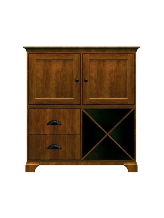 Howard Miller Custom - James Cabinet w 2 Racks in Saratoga Cherry - This cabinet is finished in Saratoga Cherry on select Hardwoods and Veneers, with Antique Bronze hardware. 2 inset panel doors. 1 cross storage shelf and 2 stemware racks. 2 flat panel drawers. Cove profile top and cove profile base. Hardware: knobs on doors and cup pulls on drawers. Features soft-close doors, metal drawer glides, and metal shelf clips. Simple assembly required. 50 1/4 in. W x 17 in. D x 54 3/4 in. H