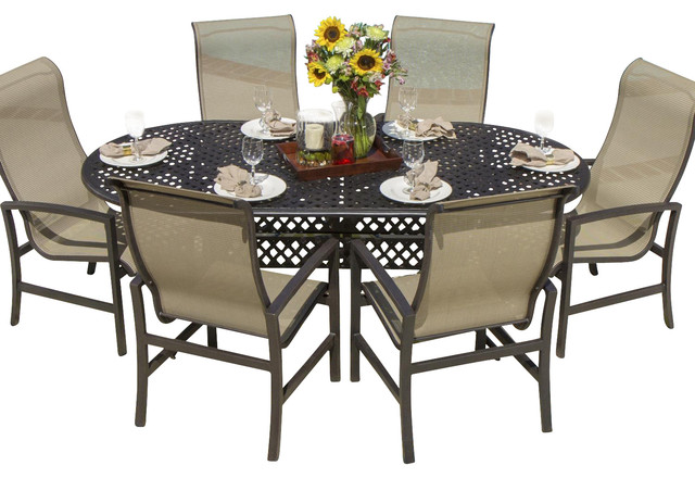 Acadia 6 Person Sling Patio Dining Set With Cast Aluminum