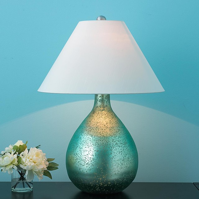 aqua metallic bulb table lamp table lamps by shades of. Black Bedroom Furniture Sets. Home Design Ideas