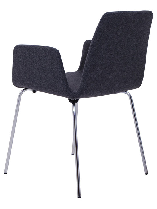 Nuans Design - Duane Dining Chair by Nuans Design - Plywood molded seat shell fully padded and upholstered in high quality foam. Chrome plated metal legs.