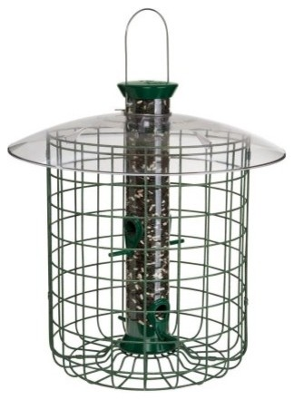 Droll Yankees 15 in. Green Domed Cage Sunflower Feeder contemporary-bird-feeders
