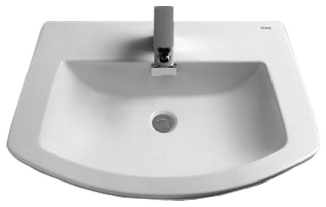 Toto LT963#01 Cotton White Soiree Self-Rimming Lavatory Single Hole ADA transitional-bathroom-sinks