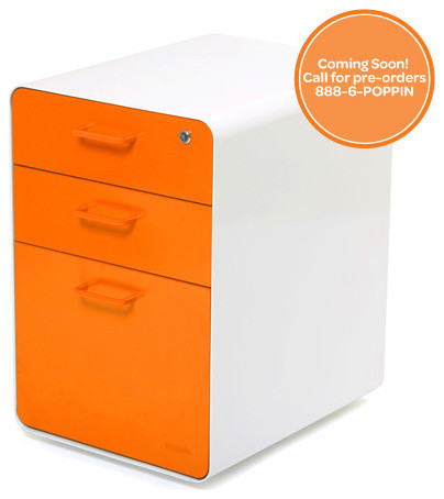 West 18th File Cabinet, White + Orange - Modern - Filing Cabinets And Carts - by Poppin