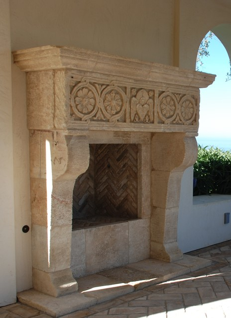 antique stone fireplace mantels mediterranean exterior