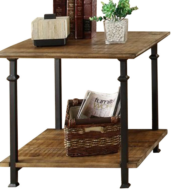 Homelegance factory rectangular end table with wrought for Wrought iron side table base
