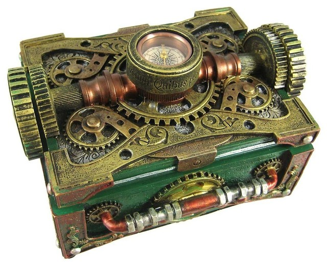 Steampunk Trinket/Jewelry Box With Compass eclectic-jewelry-boxes-and ...