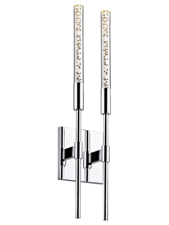 """Sonneman - Sonneman Champagne Wands 20 3/4"""" High 2-Light Chrome LED Sconce - Champagne Wands 2-light wall sconce. By Sonneman. Polished chrome finish. Champagne acrylic shades. Includes two 5 watt LEDs. Light output is 400 lumens. Comparable to a 40 watt incandescent bulb. 3000K color temperature. CRI is 80. ADA compliant. 20 3/4"""" high. 5 1/5"""" wide. Extends 2 1/2"""" from the wall. Backplate is 5 1/4"""" square.   Champagne Wands 2-light wall sconce.  By Sonneman.  Polished chrome finish.  Champagne acrylic shades.  Includes two 5 watt LEDs.  Light output is 400 lumens.  Comparable to a 40 watt incandescent bulb.  3000K color temperature.  CRI is 80.  ADA compliant.  20 3/4"""" high.  5 1/5"""" wide.  Extends 2 1/2"""" from the wall.  Backplate is 5 1/4"""" square."""