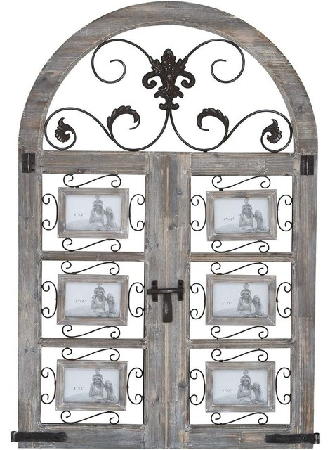 Wood Metal Wall Photo Frame with Door Like Pattern traditional-frames