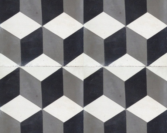 "In Stock Cement Tile - ""Harlequin"" cement tile in Black, White and Charcoal"