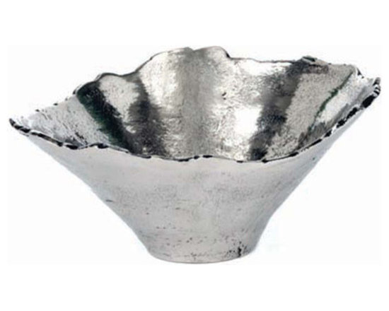 """Star Home - Cone Shaped Serving Bowl - Inspired by nature, this silver-plated bowl is both decorative and functional. Food safe. Dry immediately after washing with warm soapy water. Do not place in microwave or freezer. Dimensions: 11.5"""" D x 6""""H"""