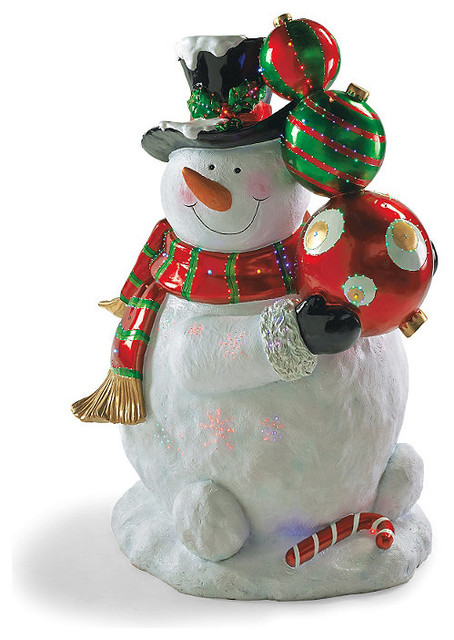 Fiber optic led whiteman with ornaments outdoor Traditional outdoor christmas decorations