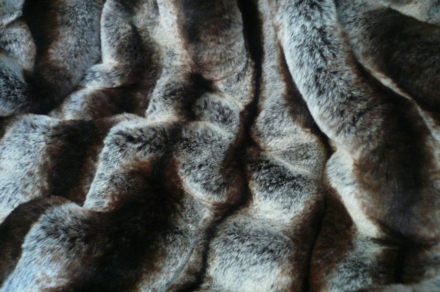 Ribbed Chinchilla Faux Fur Throw Blanket with Black Velvet Velour Backing contemporary-throws