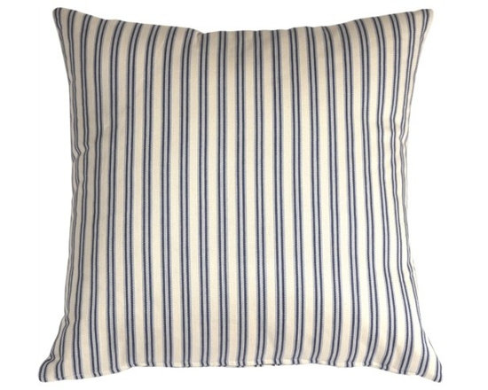 Pillow Decor - Pillow Decor - Catalina Ticking Blue 20X20 Throw Pillow - Hand-woven and yarn dyed, the Catalina Ticking Pillow is 100% cotton. Alternating vertical stripes of cream, indigo and soft pale blue show off the simplicity and the subtle style to this pillow. The traditional yet contemporary Indian design is cleverly casual and combines easily with the other pillows in similar tones. Try the Catalina ticking pillow with block prints, ikats, solids and textures for a sophisticated decor statement.