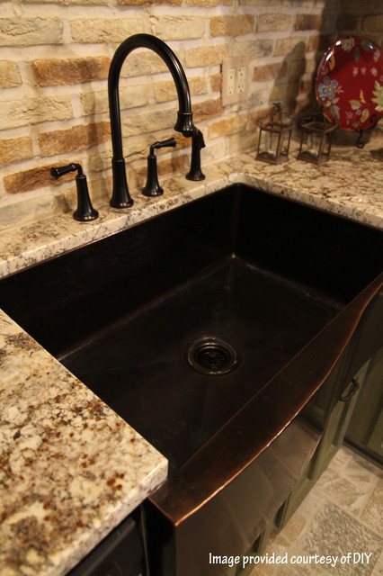Wave sink on DIY traditional kitchen