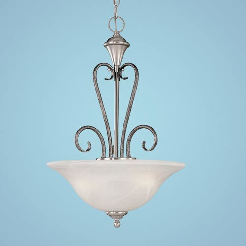 Devonshire Satin Nickel/Silvermist Three-Light Pendant with Faux Alabaster Glass modern-pendant-lighting