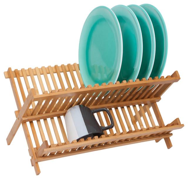 Folding Dish Rack Made From Natural Bamboo - Contemporary - Dish Racks ...