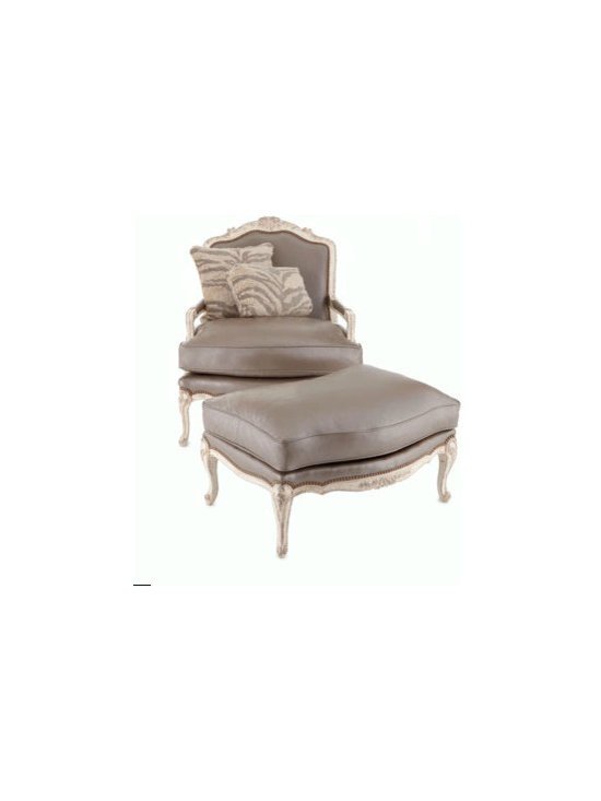 """""""Silver"""" Leather Chair & Ottoman - Matching armchair and ottoman are upholstered in luxurious leather with a silver hue."""