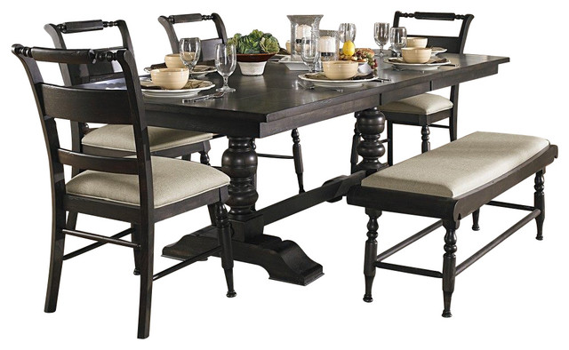 Liberty furniture whitney 6 piece 94x42 dining room set w for Traditional black dining room sets