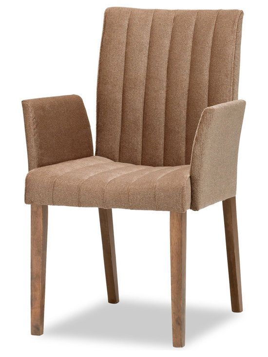 Bryght - Strip Umber Fabric Upholstered Dining Armchair - The strip dining chair, with its sophisticated and contemporary style, offers long lasting comfort. This dining chair's unique display of individual parallel grooves sewn into its upholstery lends it a chic and luxurious feel