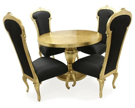 Chichi Furniture Exclusives. - A luxurious gold pedestal dining table and 4 chairs.