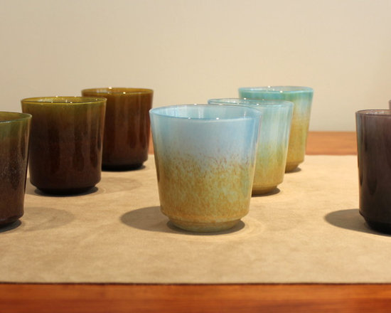 Accessories at Kozai Modern - Fresco Series hand blown glass from Japan, with a water-colour effect in green, blue and purple.