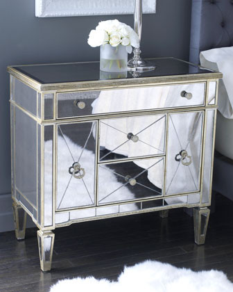 Amelie Mirrored Nightstand  traditional dressers chests and bedroom armoires