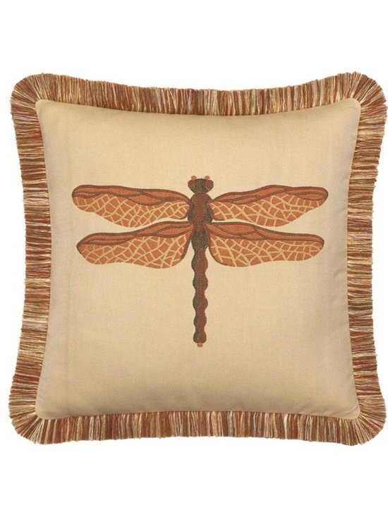 "Elaine Smith Luxury Outdoor Pillows - Elaine Smith Pillows Galapagos Dragonfly Spice - 20"" x 20"" - Elaine Smith pillow collections is the world's first and only line of outdoor luxury pillows. They start with the best, solution dyed yarns and work with the finest U.S. mills to create beautiful, long lasting quality products. These pillows can withstand nature and human nature, resisting sun, rain, and stains."