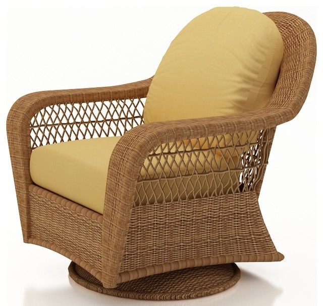 Catalina Patio Wicker Single Glider, Straw Wicker, Wheat Cushions traditional-outdoor-chairs
