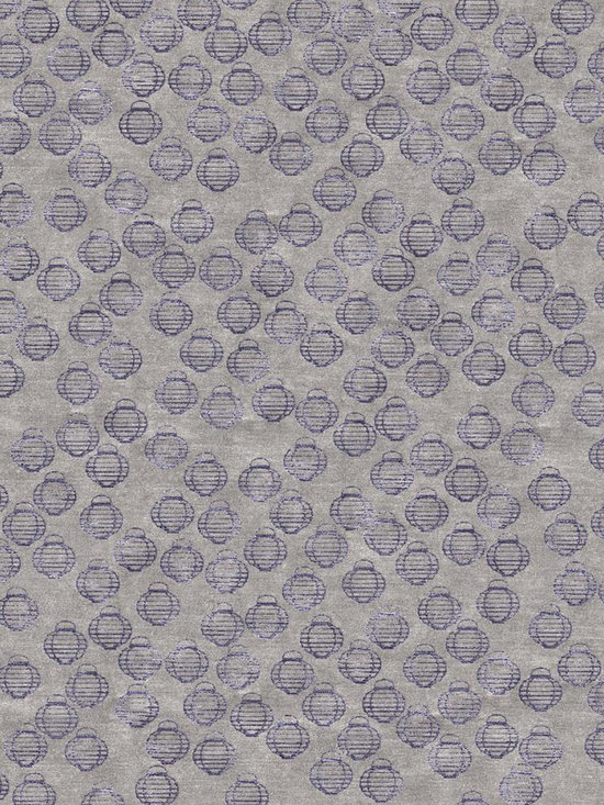 Lanterns Violet - Tibetan Wool and Chinese Silk. Hand-knotted at 100 knots per inch. Woven in Nepal. Goodweave certified.