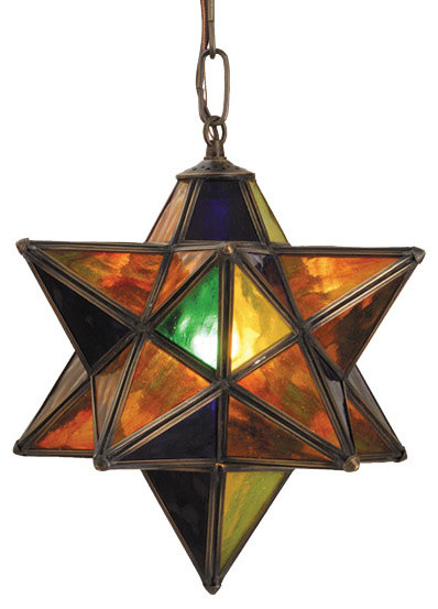 Star Pendant Lighting Fixtures : Inch width multi colored moravian star pendant ceiling