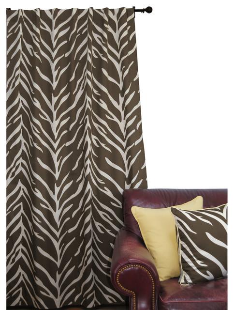Ez living home zebra window panel 84l cream on brown for Animal print window treatments