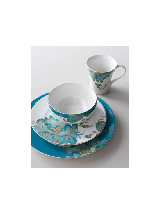 "Horchow - 16-Piece ""Eliza"" Dinnerware Service - Pretty china dinnerware mixes artful florals with solid borders in a bold theme of teal. Includes four four-piece place settings. Dishwasher and microwave safe. Dinner plate, 11.5""Dia. Salad plate, 8.75""Dia. Cereal bowl, 6""Dia. Mug holds 10 ounces...."