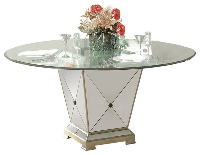 Bassett Mirror Borghese 60 Inch Round Pedetal Glass Top Dining Table Contem
