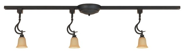 Transitional Satin Bisque Glass 3-Light Halogen Linear Track Fixture traditional-ceiling-lighting