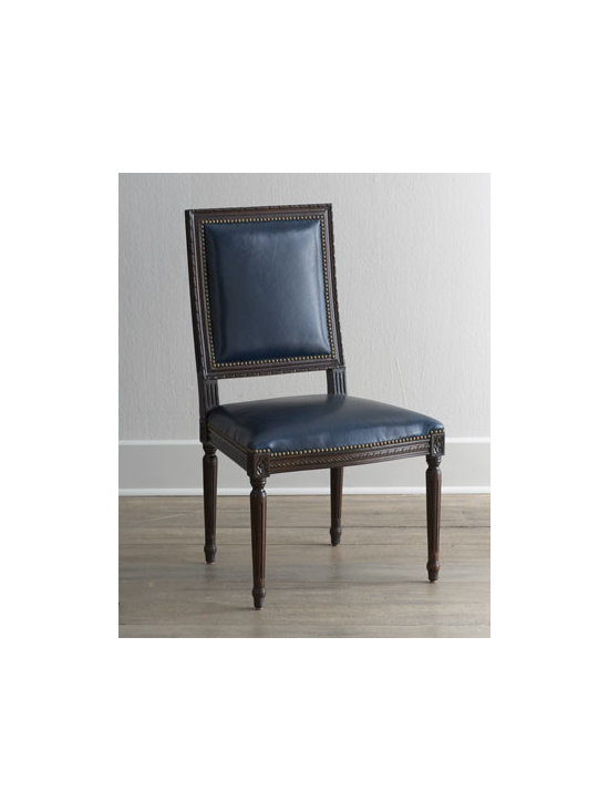 """Massoud - Massoud """"Marlin Blue"""" Leather Side Chair - A carved frame, leather upholstery, and nailhead trim take this chair from simple to simply stunning. Birch frame. Leather upholstery. Finished back. 23""""W x 23""""D x 39""""T. Made in the USA. Boxed weight, approximately 55 lbs. Please note that this...."""