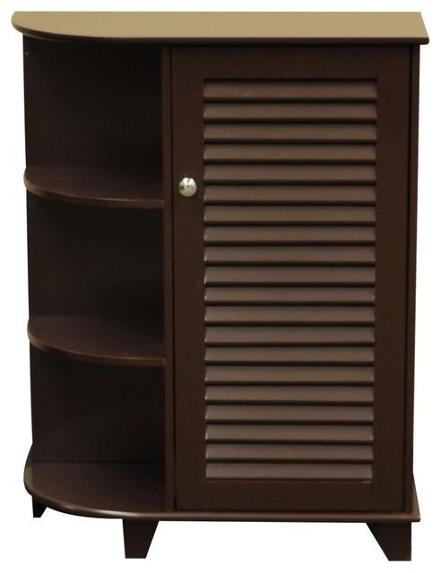 Ellsworth Bathroom Storage Collection, Espresso, Cabinet with Side Shelves traditional-bathroom-storage