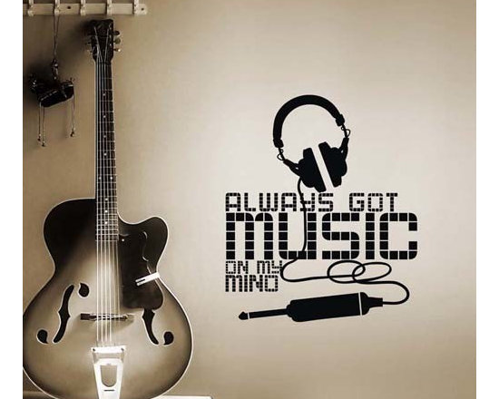ColorfulHall Co., LTD - Removable Wall Decals Music Note with Headphone and Large Music Words Art, Black - Removable Wall Decals Music Note with Headphone and Large Music Words Art
