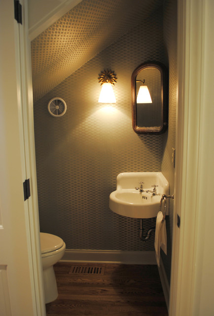Transitional powder room for Bathroom under stairs