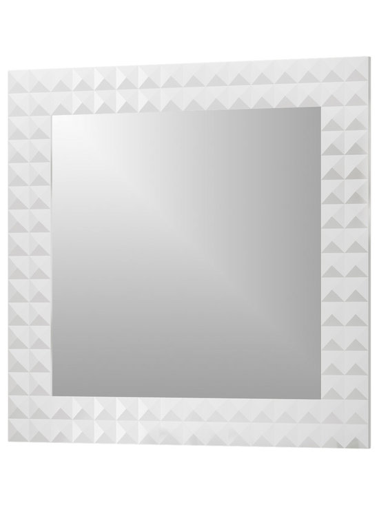 """Macral - Diamond 40"""" Wall-Framed Mirror, White - Diamond 40"""" Framed mirror White High gloss. The price ONLY includes the mirror, all the rest items such as the vanity, the faucet, linen cabinet...are NOT INCLUDED, but can be sold separately."""