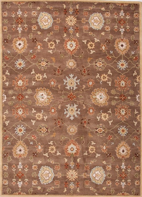 Hand-Tufted Oriental Pattern Wool Brown/Red Area Rug (2 x 3) transitional-rugs