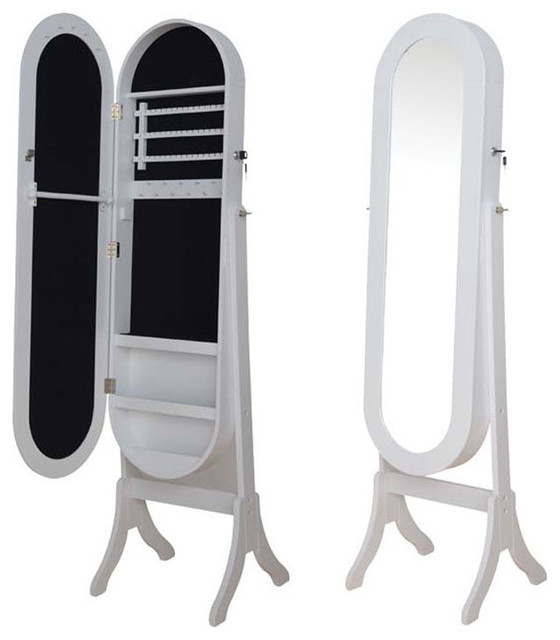 White Black Oval Jewelry Armoire Wardrobe Floor Dressing ...