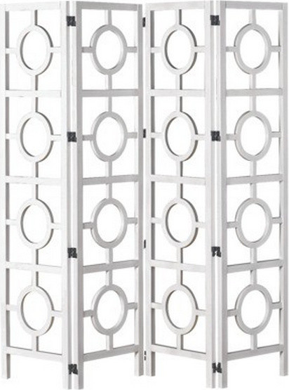 Room Divider With Circle Pattern White Contemporary