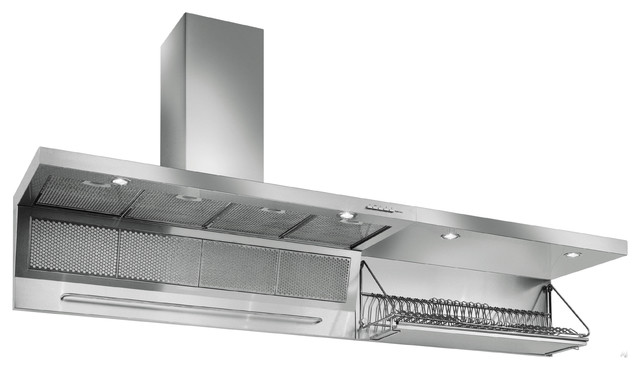 Futuro Futuro Wall Mount Range Hood with Dish Rack contemporary kitchen hoods and vents