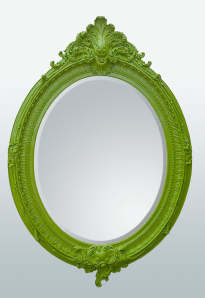 Bright Green Oval Wall Mirror contemporary mirrors