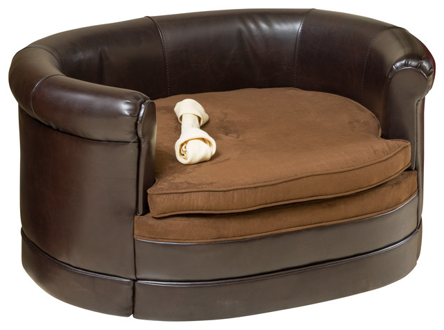 Rover Oval Chocolate Brown Leather Pet Sofa Bed Contemporary Dog Beds By Great Deal Furniture